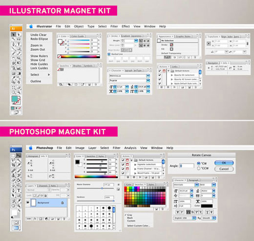 Adobe Photoshop und Adobe Illustrator Magnet-Sets